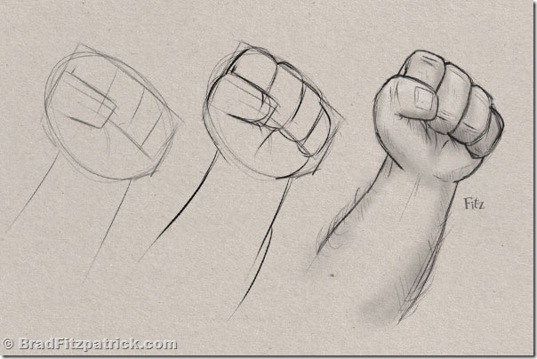 learn how to draw a fist, step by step how to draw fists.
