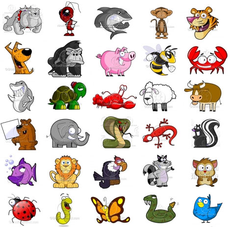 cartoon animals clip art collection