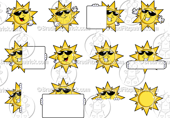 cartoon sun clipart character set