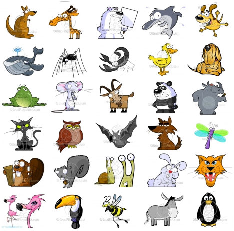 cartoon animal clip art pack - royalty free vector animal clip art images