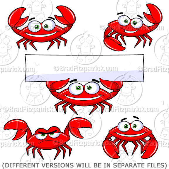 Cartoon Crab Clipart Character | Royalty Free Crab Picture Licensing.