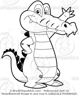 Crocodile Cartoon Black And White - photo#25
