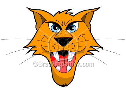 The cartoon wildcat clip art illustration above will be delivered to your