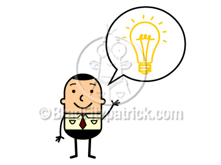 Cartoon Man With An Idea Lightbulb Clipart Graphics