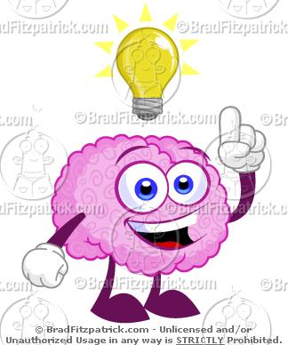 Cartoon Brain With An Idea Light Bulb