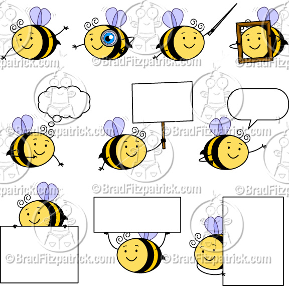 Cute Bee Clip Art | Cute Bee Character Clipart | Clipart Bee ...
