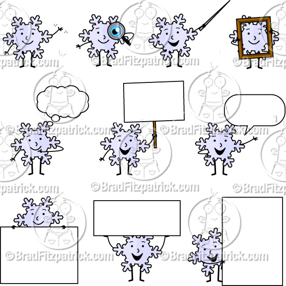 Cartoon Snowflake Clip Art | Cute Snowflake Character Clipart ...