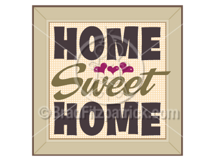 The cartoon home sweet home clip art illustration above will be delivered to