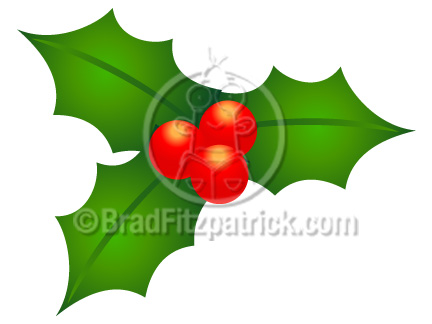 Cartoon Christmas Holly Clip Art  Christmas Holly Clipart