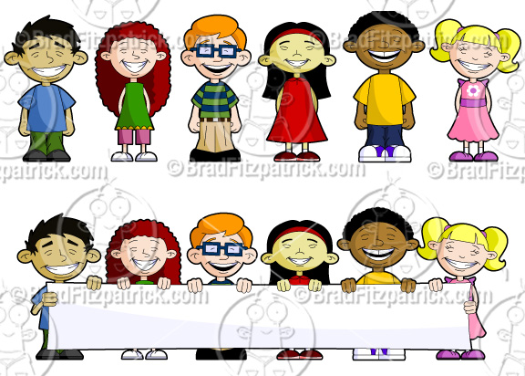 cartoon kids with banner