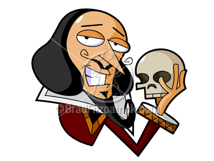 cartoon william shakespeare clipart caricature - hamlet - macbeth illustration pictures