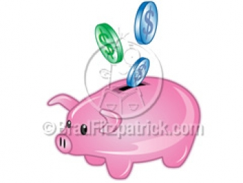 Clipart Cute Piggy Bank  Royalty Free Vector Illustration