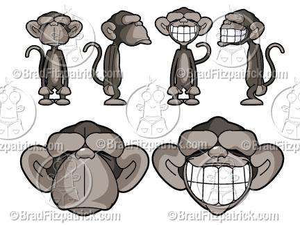 Cartoon Monkeys Vector Images