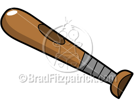 The cartoon baseball bat clip art illustration above will be delivered to