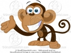Cartoon Picture of a Waving Monkey Clip Art