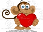 Monkey Holding a Heart Clipart
