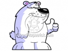 Clip Art of a Polar Bear with His Thumbs Up
