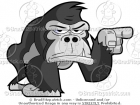 Picture of a Gorilla Pointing His Finger Clipart