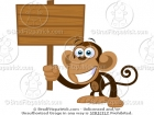 Cartoon Monkey Holding a Wood Sign Clipart