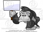 Gorilla Holding Up a Blank Sign Cartoon Picture