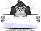 Gorilla Holding a Blank Banner Cartoon Picture