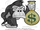 Cartoon Picture of a Gorilla Holding a Bag of Money Clip Art