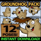Cartoon Groundhog Clip Art Vector Pack! - Cartoon Groundhog Mascot