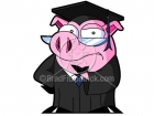 A Cartoon Pig Graduate Thinking Picture