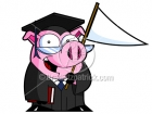 Cartoon Grad Pig With Book and Banner Clipart