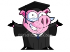 Cartoon Clipart of a Graduating Pig with Open Arms