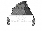 Cartoon Ape Clipart Holding Blank Sign