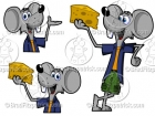 Mouse Clip Art Character Holding Cheese