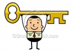 Cartoon Business Man Holding a Key Above His Head Clipart Graphics
