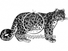 Black and White Snow Leopard Clipart