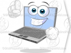 Clipart Laptop Character Pointing Up