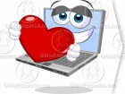Picture of a Laptop Computer with a Heart Clip Art