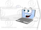 Laptop Clipart Character Beside a Blank Billboard Sign