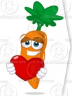Picture of a Healthy Carrot with a Heart Clip Art