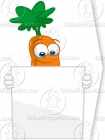 Carrot Standing Behind a Tall Blank Sign