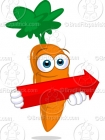 Cartoon Picture of a Carrot with an Arrow Clip Art