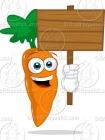 Cartoon Carrot Holding a Blank Wood Sign