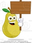 Pear Cartoon Character with a Blank Wood Sign