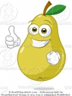 Cartoon Pear with His Thumbs Up Clipart