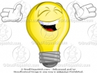Cartoon Happy Lightbulb Laughing Clipart
