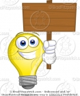 Cartoon Picture of a Lightbulb with a Blank Sign Clip Art