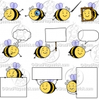 Cute Bee Character Clipart Mascot Graphics