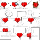 Cartoon Heart Character Clipart Mascot Graphics