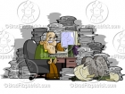 Old Man at a Cluttered Messy Desk Clipart