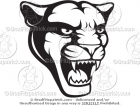 Black & White Panther Head Mascot Vector