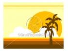Beach & Palm Tree Sunset Background